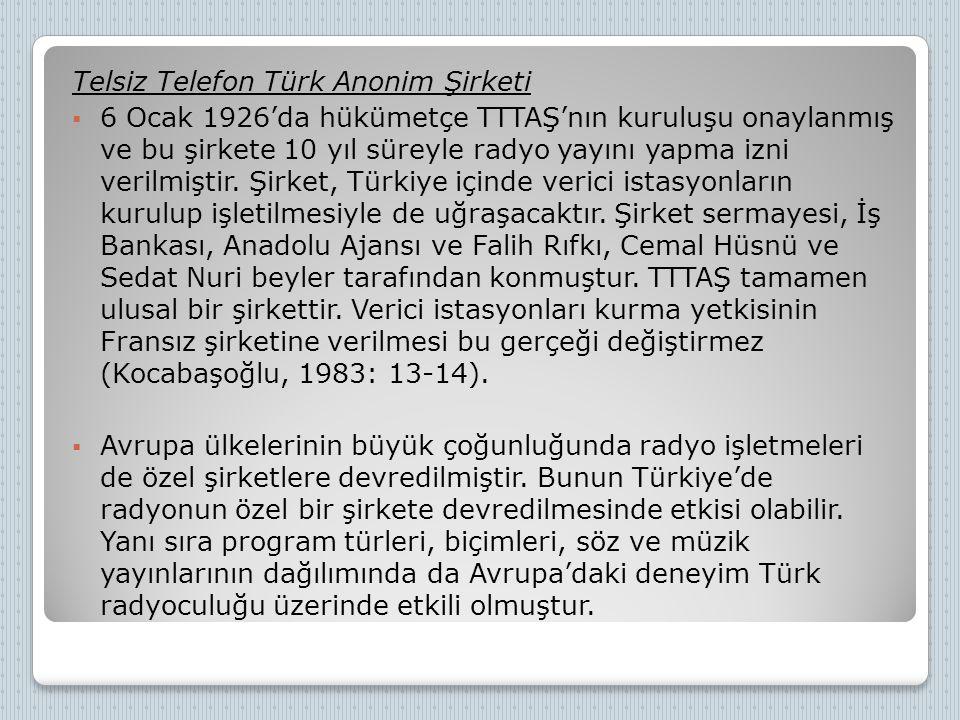 Telsiz Telefon Türk Anonim Şirketi  6 Ocak 1926'da hükümetçe TTTAŞ'nın kuruluşu onaylanmış ve bu şirkete 10 yıl süreyle radyo yayını yapma izni veril