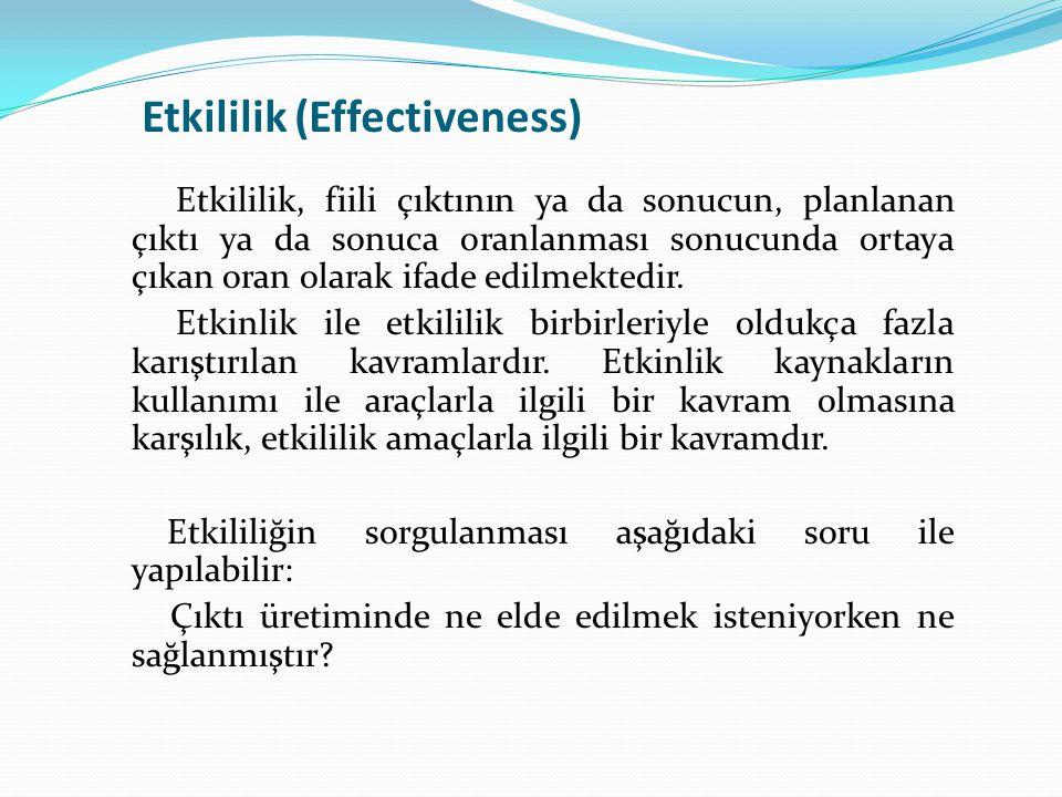Etkililik (Effectiveness) Etkililik, fiili çıktının ya da sonucun, planlanan çıktı ya da sonuca oranlanması sonucunda ortaya çıkan oran olarak ifade e