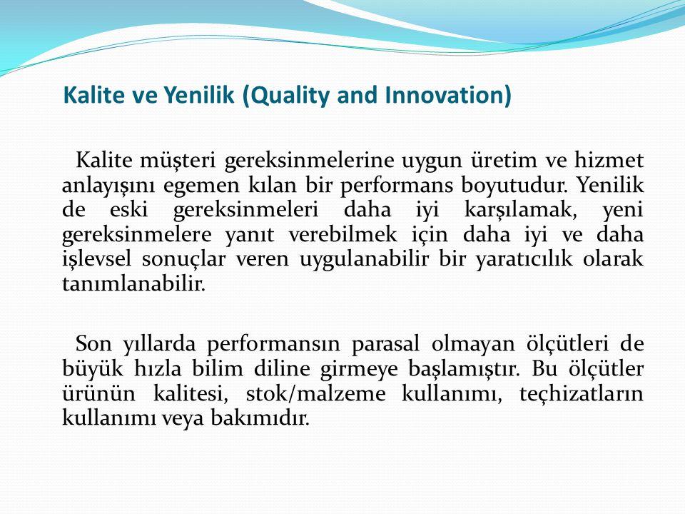 Kalite ve Yenilik (Quality and Innovation) Kalite müşteri gereksinmelerine uygun üretim ve hizmet anlayışını egemen kılan bir performans boyutudur. Ye