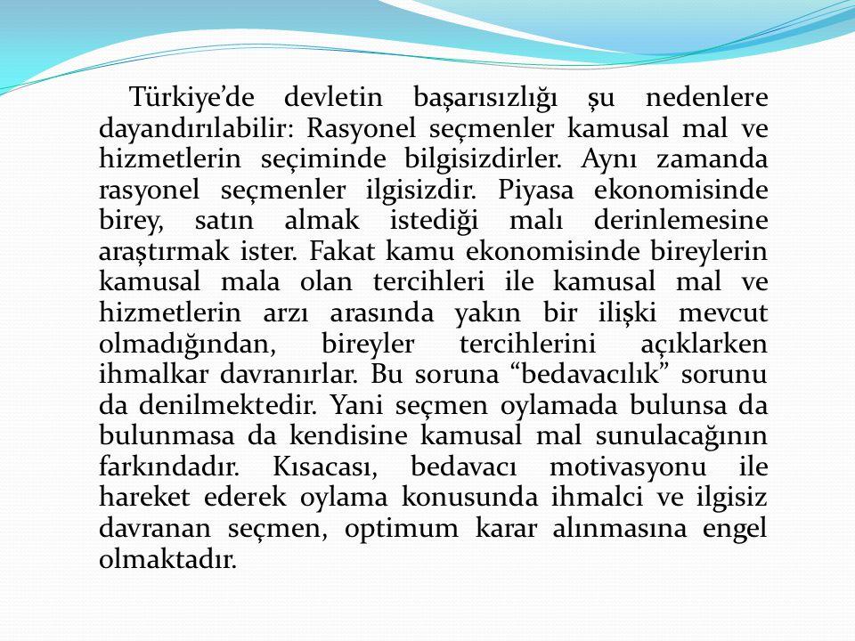 Türkiye'de devletin başarısızlığı şu nedenlere dayandırılabilir: Rasyonel seçmenler kamusal mal ve hizmetlerin seçiminde bilgisizdirler. Aynı zamanda