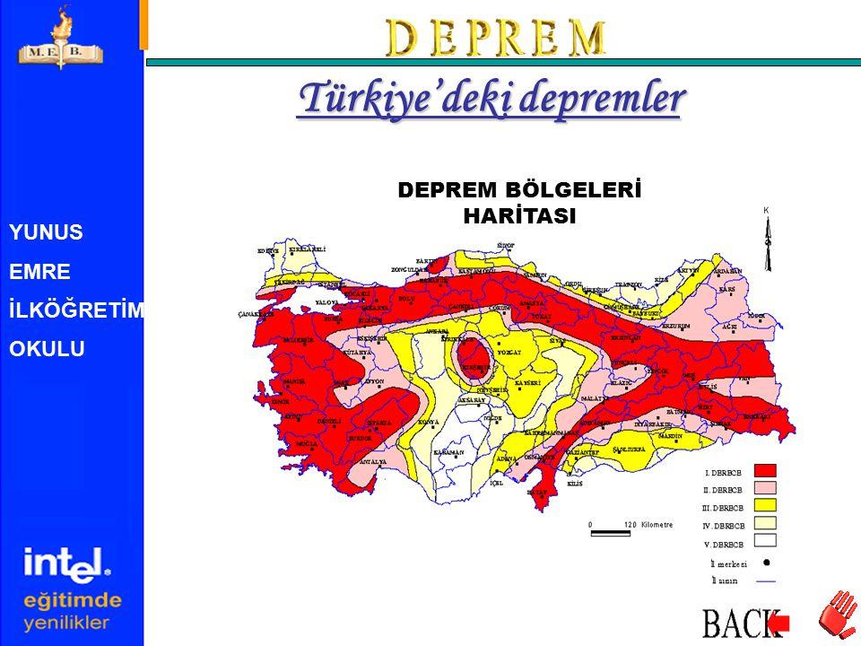 YUNUS EMRE İLKÖĞRETİM OKULU DEPREM BÖLGELERİ HARİTASI Türkiye'deki depremler