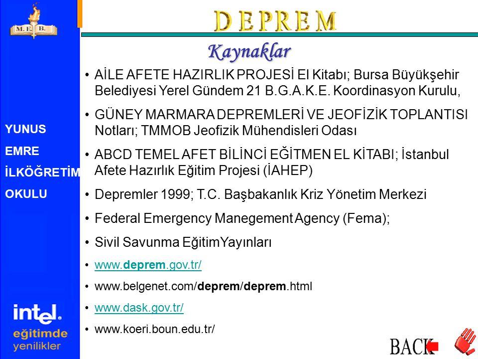 YUNUS EMRE İLKÖĞRETİM OKULU Kaynaklar AİLE AFETE HAZIRLIK PROJESİ El Kitabı; Bursa Büyükşehir Belediyesi Yerel Gündem 21 B.G.A.K.E. Koordinasyon Kurul