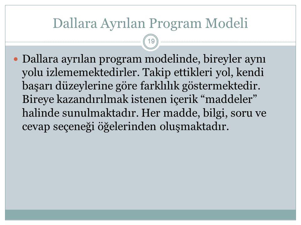Dallara Ayrılan Program Modeli 19 Dallara ayrılan program modelinde, bireyler aynı yolu izlememektedirler. Takip ettikleri yol, kendi başarı düzeyleri