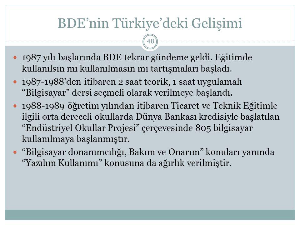 BDE'nin Türkiye'deki Gelişimi 48 1987 yılı başlarında BDE tekrar gündeme geldi. Eğitimde kullanılsın mı kullanılmasın mı tartışmaları başladı. 1987-19