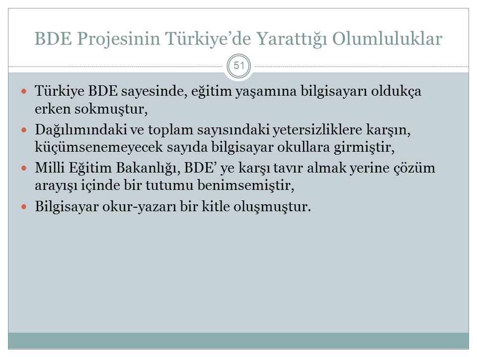 BDE Projesinin Türkiye'de Yarattığı Olumluluklar 51 Türkiye BDE sayesinde, eğitim yaşamına bilgisayarı oldukça erken sokmuştur, Dağılımındaki ve toplam sayısındaki yetersizliklere karşın, küçümsenemeyecek sayıda bilgisayar okullara girmiştir, Milli Eğitim Bakanlığı, BDE' ye karşı tavır almak yerine çözüm arayışı içinde bir tutumu benimsemiştir, Bilgisayar okur-yazarı bir kitle oluşmuştur.