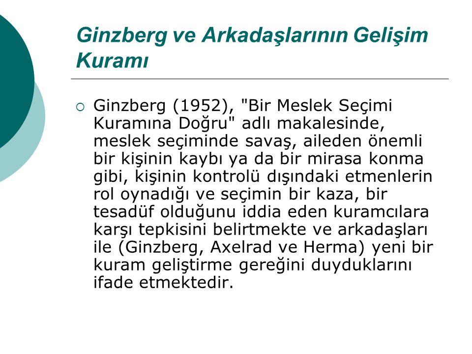 Ginzberg ve Arkadaşlarının Gelişim Kuramı  Ginzberg (1952),