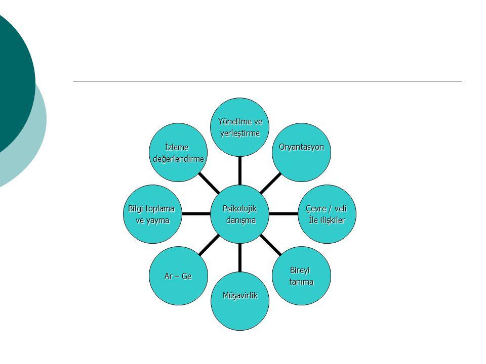 Psikolojik danışma danışma Yöneltme ve yerleştirme Oryantasyon Çevre / veli İle ilişkiler Bireyitanıma Müşavirlik Ar – Ge Bilgi toplama ve yayma İzlem