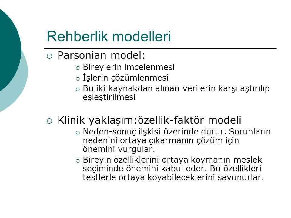 Rehberlik modelleri  Parsonian model:  Bireylerin imcelenmesi  İşlerin çözümlenmesi  Bu iki kaynakdan alınan verilerin karşılaştırılıp eşleştirilm