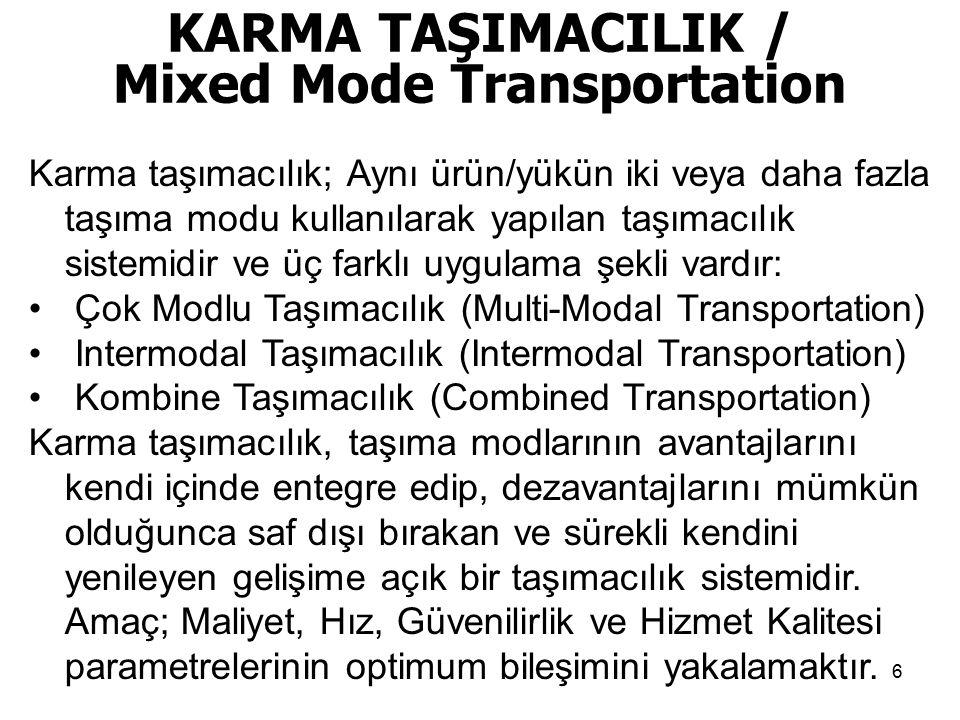 KARMA TAŞIMACILIK / Mixed Mode Transportation Karma taşımacılık; Aynı ürün/yükün iki veya daha fazla taşıma modu kullanılarak yapılan taşımacılık sist