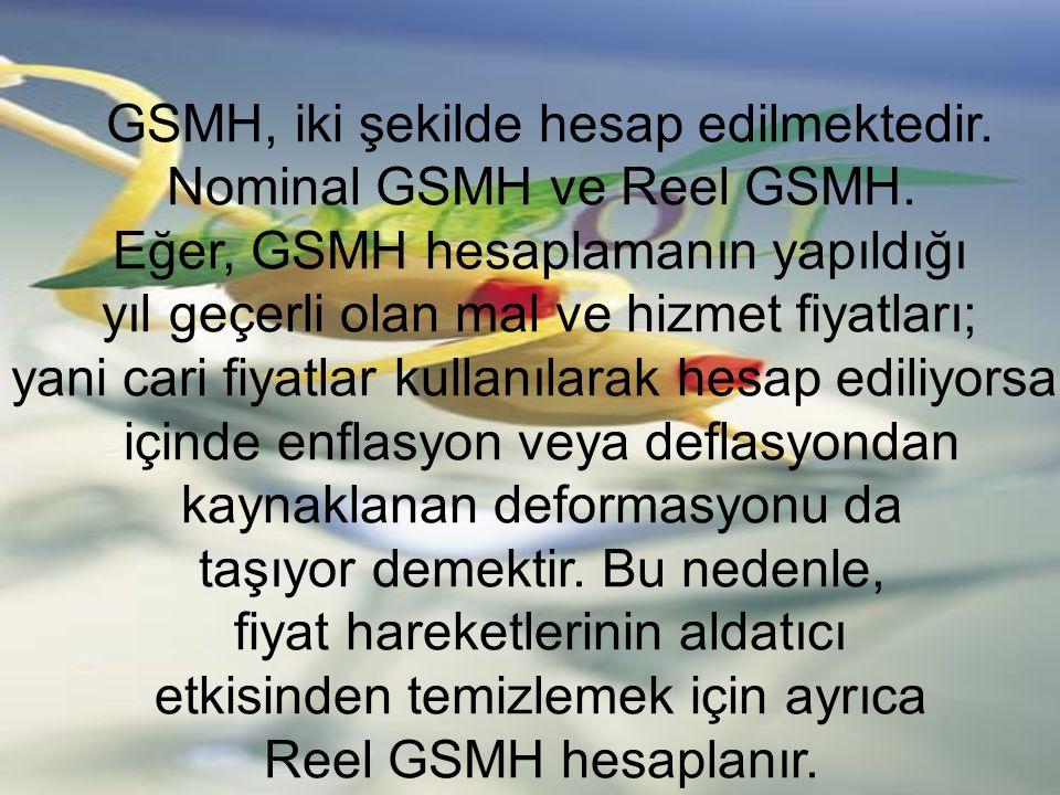 GSMH, iki şekilde hesap edilmektedir. Nominal GSMH ve Reel GSMH. Eğer, GSMH hesaplamanın yapıldığı yıl geçerli olan mal ve hizmet fiyatları; yani cari