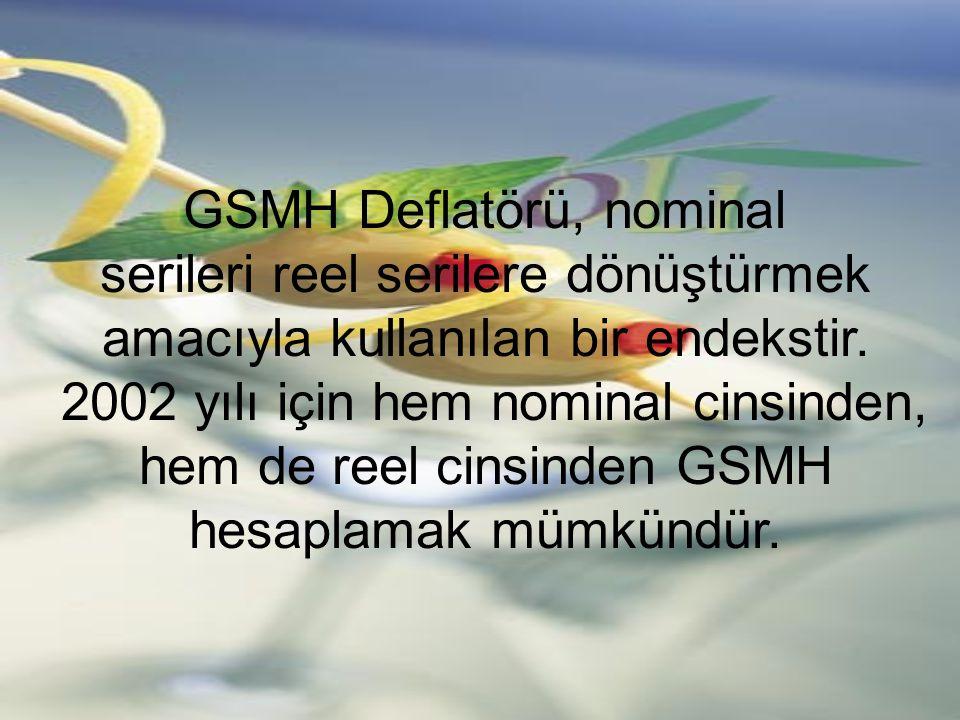 GSMH Deflatörü, nominal serileri reel serilere dönüştürmek amacıyla kullanılan bir endekstir. 2002 yılı için hem nominal cinsinden, hem de reel cinsin