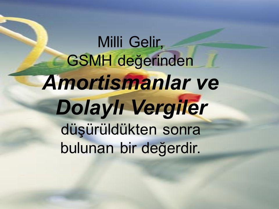 Milli Gelir, GSMH değerinden Amortismanlar ve Dolaylı Vergiler düşürüldükten sonra bulunan bir değerdir.