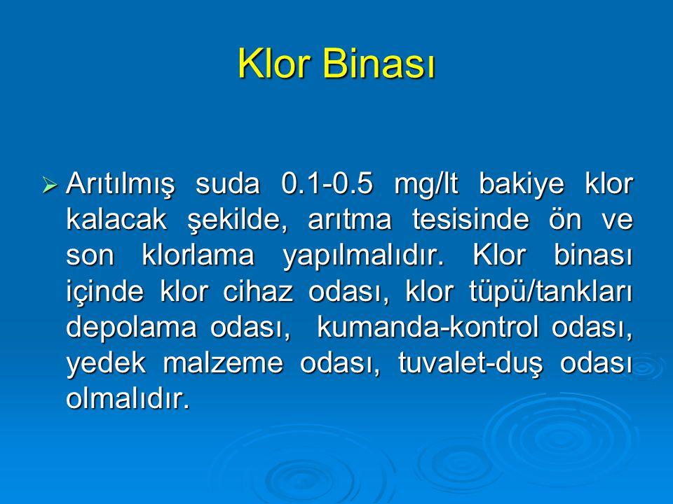 Klor Binası  Arıtılmış suda 0.1-0.5 mg/lt bakiye klor kalacak şekilde, arıtma tesisinde ön ve son klorlama yapılmalıdır. Klor binası içinde klor ciha