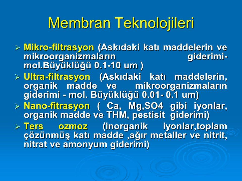Membran Teknolojileri  Mikro-filtrasyon (Askıdaki katı maddelerin ve mikroorganizmaların giderimi- mol.Büyüklüğü 0.1-10 um )  Ultra-filtrasyon (Askı