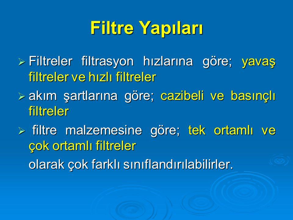 Filtre Yapıları  Filtreler filtrasyon hızlarına göre; yavaş filtreler ve hızlı filtreler  akım şartlarına göre; cazibeli ve basınçlı filtreler  fil