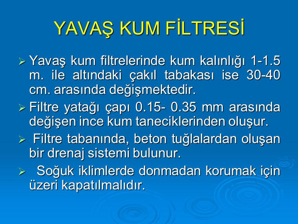 YAVAŞ KUM FİLTRESİ  Yavaş kum filtrelerinde kum kalınlığı 1-1.5 m. ile altındaki çakıl tabakası ise 30-40 cm. arasında değişmektedir.  Filtre yatağı