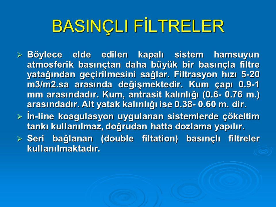 BASINÇLI FİLTRELER  Böylece elde edilen kapalı sistem hamsuyun atmosferik basınçtan daha büyük bir basınçla filtre yatağından geçirilmesini sağlar. F