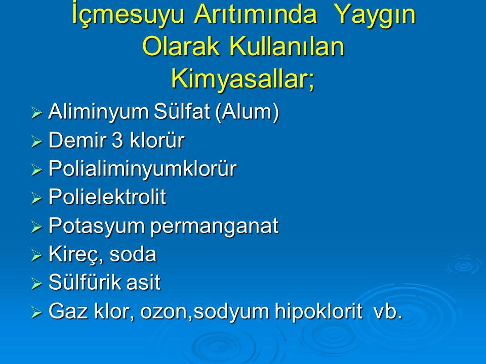 İçmesuyu Arıtımında Yaygın Olarak Kullanılan Kimyasallar;  Aliminyum Sülfat (Alum)  Demir 3 klorür  Polialiminyumklorür  Polielektrolit  Potasyum