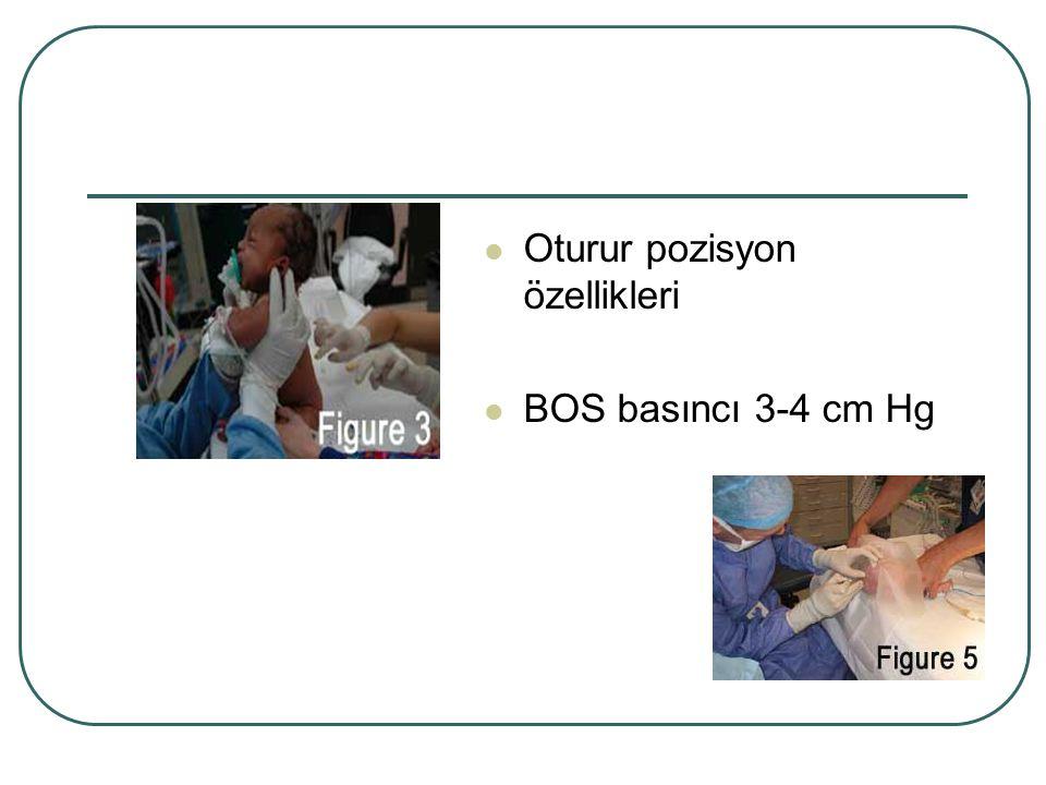 Oturur pozisyon özellikleri BOS basıncı 3-4 cm Hg