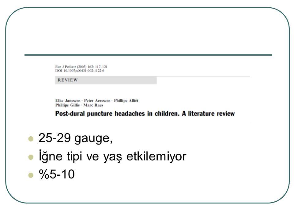 25-29 gauge, İğne tipi ve yaş etkilemiyor %5-10