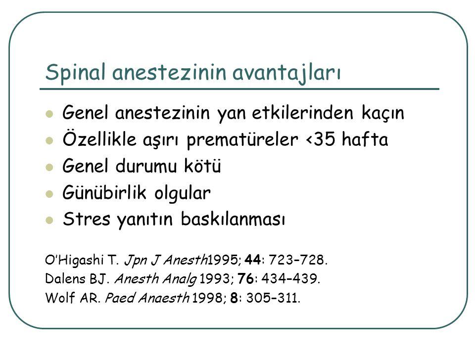 Spinal anestezinin avantajları Genel anestezinin yan etkilerinden kaçın Özellikle aşırı prematüreler <35 hafta Genel durumu kötü Günübirlik olgular St