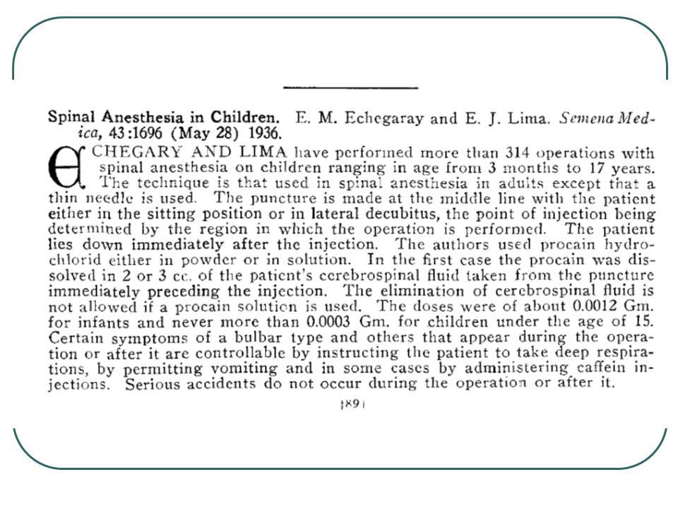 1933'te lobektomi ve pnömonektomide spinal anestezi tekrar gündeme geldi Junkin C.