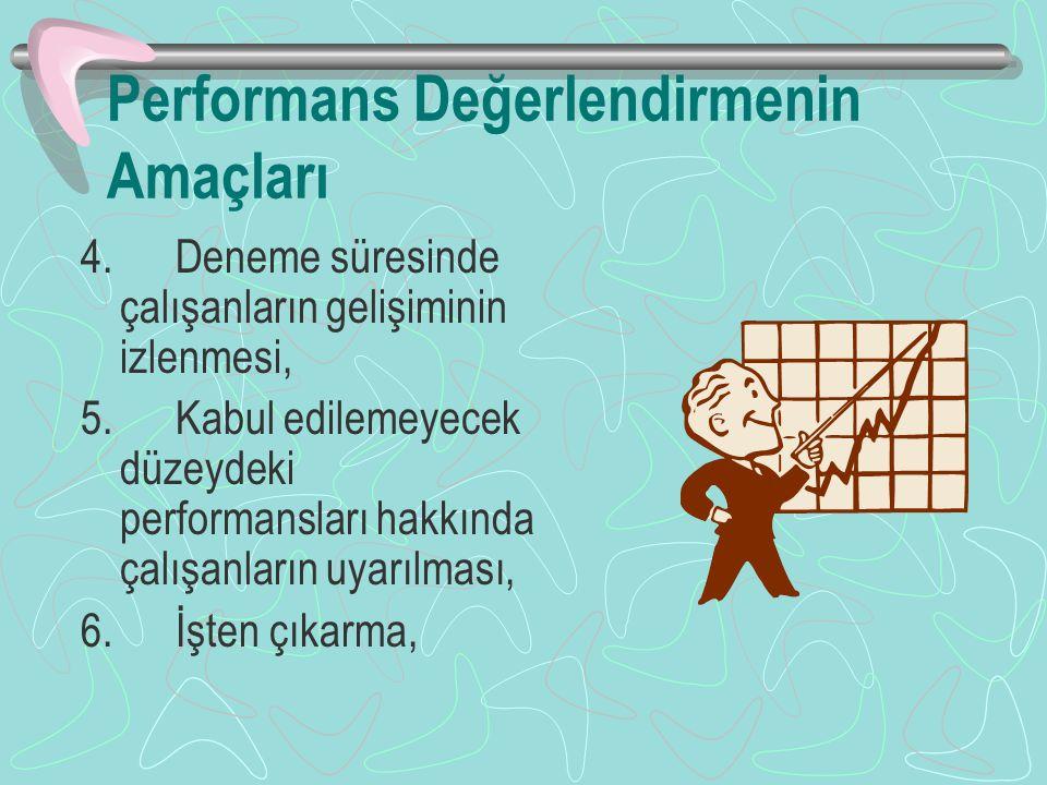 Performans Değerlendirmenin Amaçları 4.Deneme süresinde çalışanların gelişiminin izlenmesi, 5.