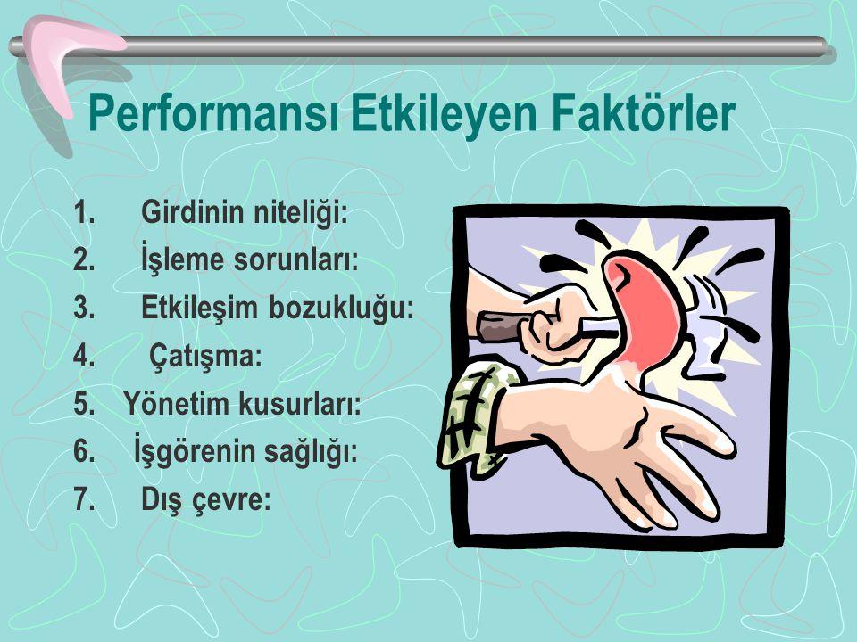 Performansı Etkileyen Faktörler 1.Girdinin niteliği: 2.
