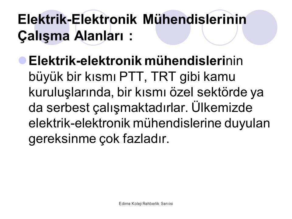 Edirne Koleji Rehberlik Servisi Elektrik-Elektronik Mühendislerinin Çalışma Alanları : Elektrik-elektronik mühendislerinin büyük bir kısmı PTT, TRT gibi kamu kuruluşlarında, bir kısmı özel sektörde ya da serbest çalışmaktadırlar.