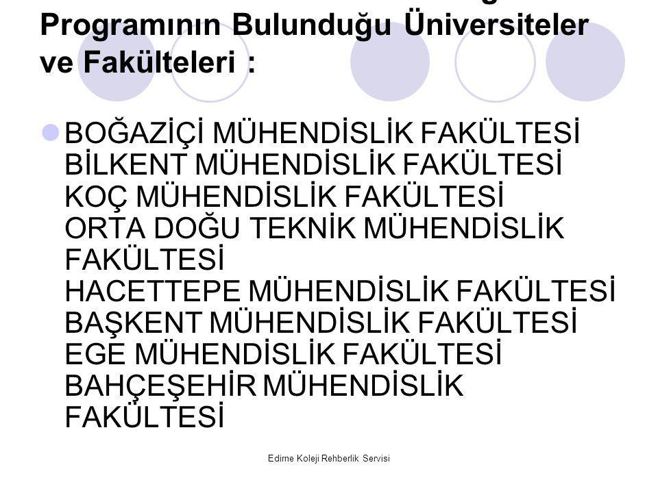 Edirne Koleji Rehberlik Servisi Elektrik-Elektronik Mühendisliği Programının Bulunduğu Üniversiteler ve Fakülteleri : BOĞAZİÇİ MÜHENDİSLİK FAKÜLTESİ B