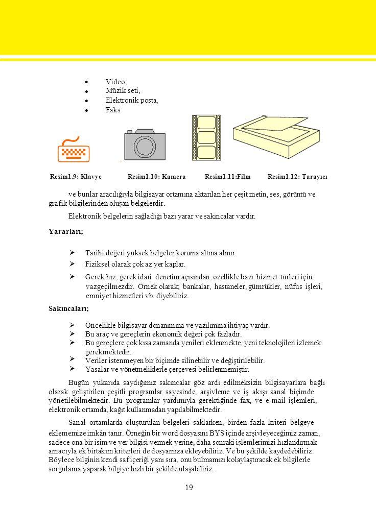  Video, Müzik seti, Elektronik posta, Faks … Resim1.9: KlavyeResim1.10: KameraResim1.11:Film Resim1.12: Tarayıcı ve bunlar aracılığıyla bilgisayar ortamına aktarılan her çeşit metin, ses, görüntü ve grafik bilgilerinden oluşan belgelerdir.