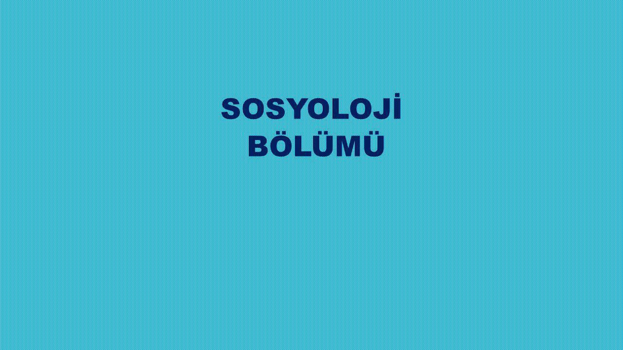 SOSYOLOJİ BÖLÜMÜ