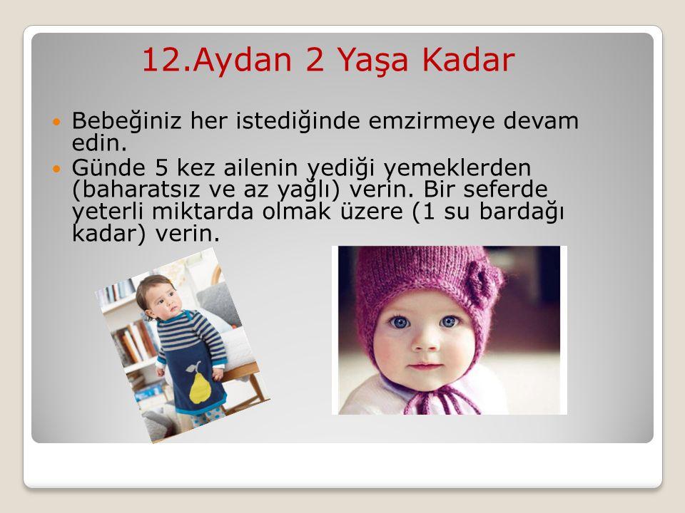 12.Aydan 2 Yaşa Kadar Bebeğiniz her istediğinde emzirmeye devam edin.