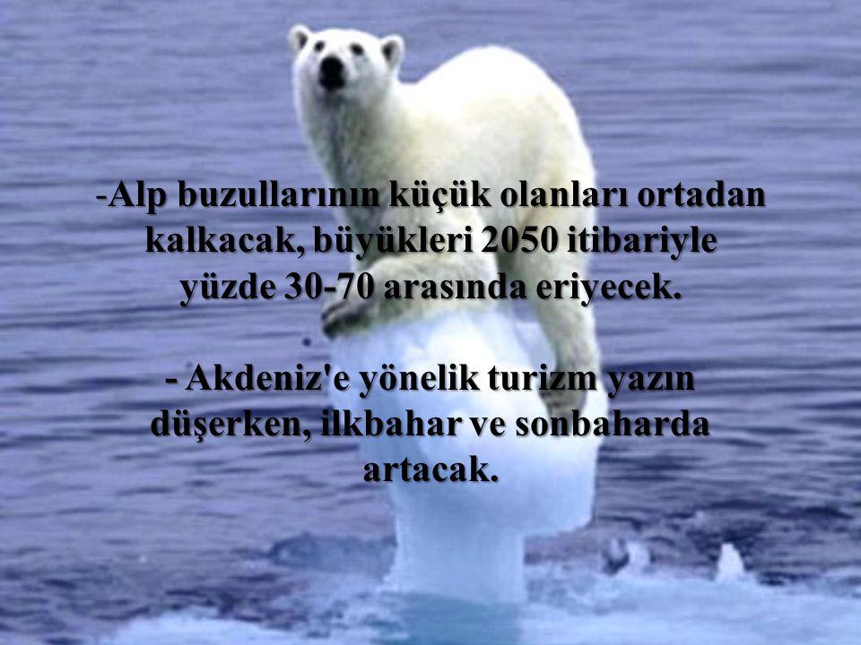 -Alp buzullarının küçük olanları ortadan kalkacak, büyükleri 2050 itibariyle yüzde 30-70 arasında eriyecek. - Akdeniz'e yönelik turizm yazın düşerken,