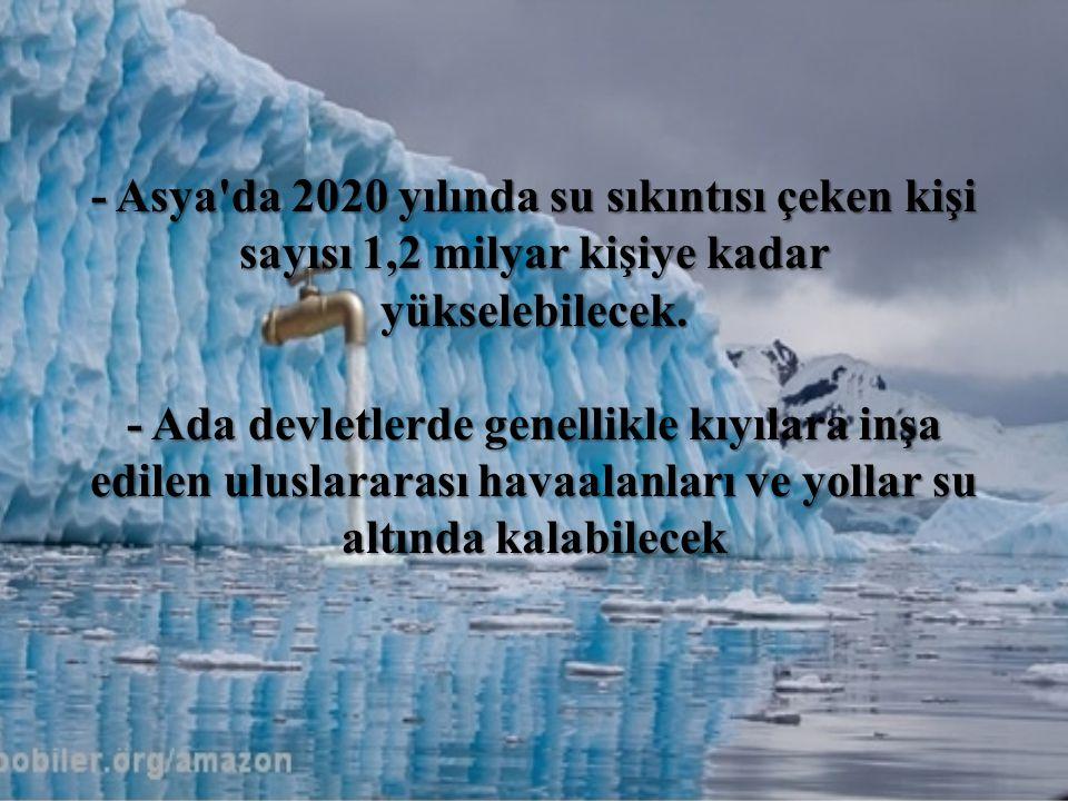 - Asya'da 2020 yılında su sıkıntısı çeken kişi sayısı 1,2 milyar kişiye kadar yükselebilecek. - Ada devletlerde genellikle kıyılara inşa edilen ulusla