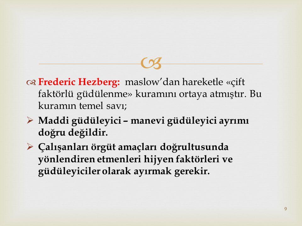   Frederic Hezberg: maslow'dan hareketle «çift faktörlü güdülenme» kuramını ortaya atmıştır.