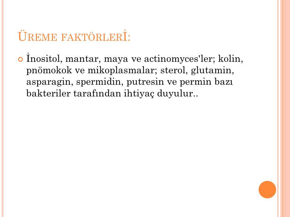Ü REME FAKTÖRLER İ: İnositol, mantar, maya ve actinomyces'ler; kolin, pnömokok ve mikoplasmalar; sterol, glutamin, asparagin, spermidin, putresin ve p