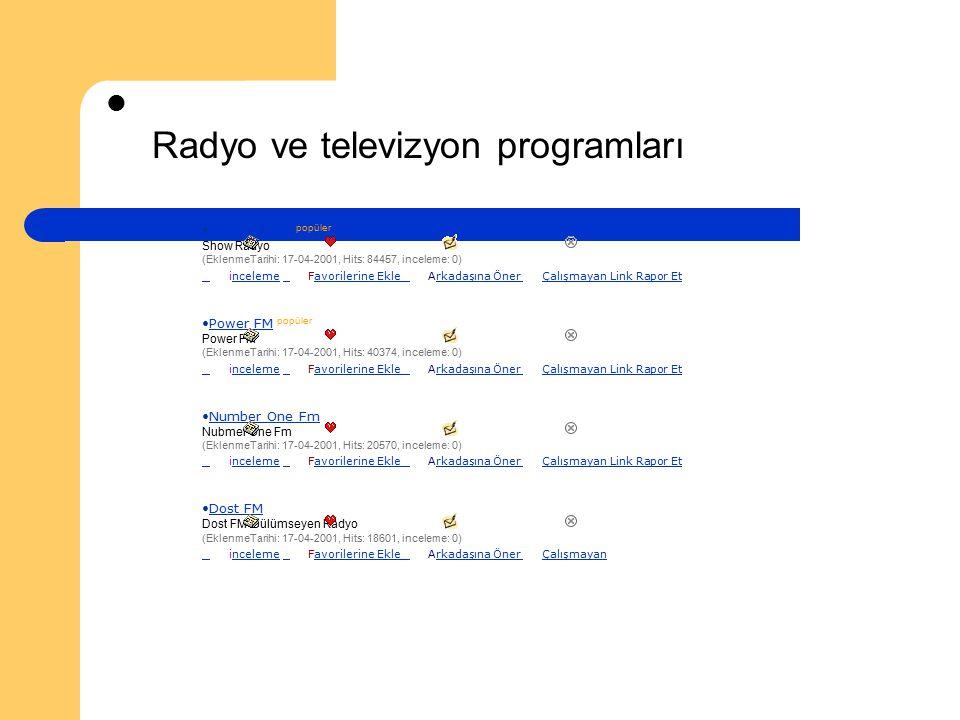 Radyo ve televizyon programları Show Radyo popüler Show Radyo (EklenmeTarihi: 17-04-2001, Hits: 84457, inceleme: 0) inceleme Favorilerine Ekle Arkadaş