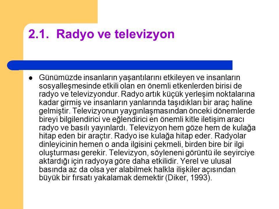 2.1.Radyo ve televizyon Günümüzde insanların yaşantılarını etkileyen ve insanların sosyalleşmesinde etkili olan en önemli etkenlerden birisi de radyo