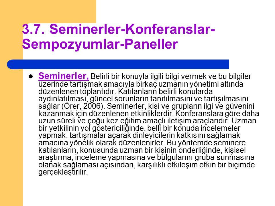 3.7.Seminerler-Konferanslar- Sempozyumlar-Paneller Seminerler, Belirli bir konuyla ilgili bilgi vermek ve bu bilgiler üzerinde tartışmak amacıyla birk
