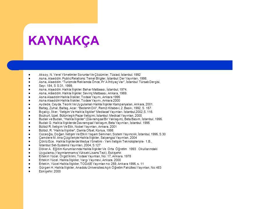 KAYNAKÇA Aksoy, N. Yerel Yönetimler Sorunlar Ve Çözümler, Tüsiad, İstanbul. 1992 Asna, Alaeddin. Public Relations: Temel Bilgiler, İstanbul: Der Yayın