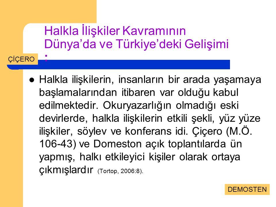 Halkla İlişkiler Kavramının Dünya'da ve Türkiye'deki Gelişimi : Halkla ilişkilerin, insanların bir arada yaşamaya başlamalarından itibaren var olduğu