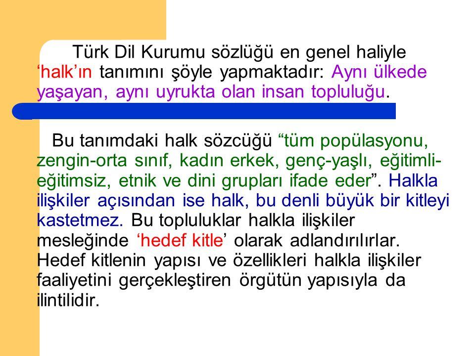 Türk Dil Kurumu sözlüğü en genel haliyle 'halk'ın tanımını şöyle yapmaktadır: Aynı ülkede yaşayan, aynı uyrukta olan insan topluluğu. Bu tanımdaki hal