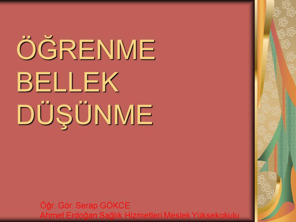 ÖĞRENME BELLEK DÜŞÜNME Öğr. Gör. Serap GÖKCE Ahmet Erdoğan Sağlık Hizmetleri Meslek Yüksekokulu