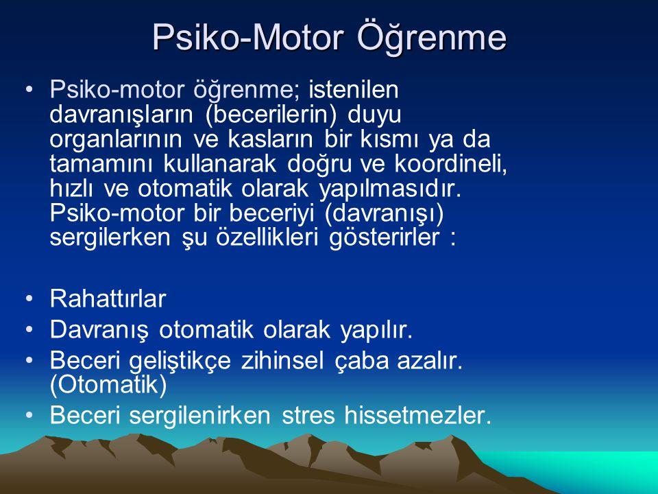Psiko-Motor Öğrenme Psiko-motor öğrenme; istenilen davranışların (becerilerin) duyu organlarının ve kasların bir kısmı ya da tamamını kullanarak doğru