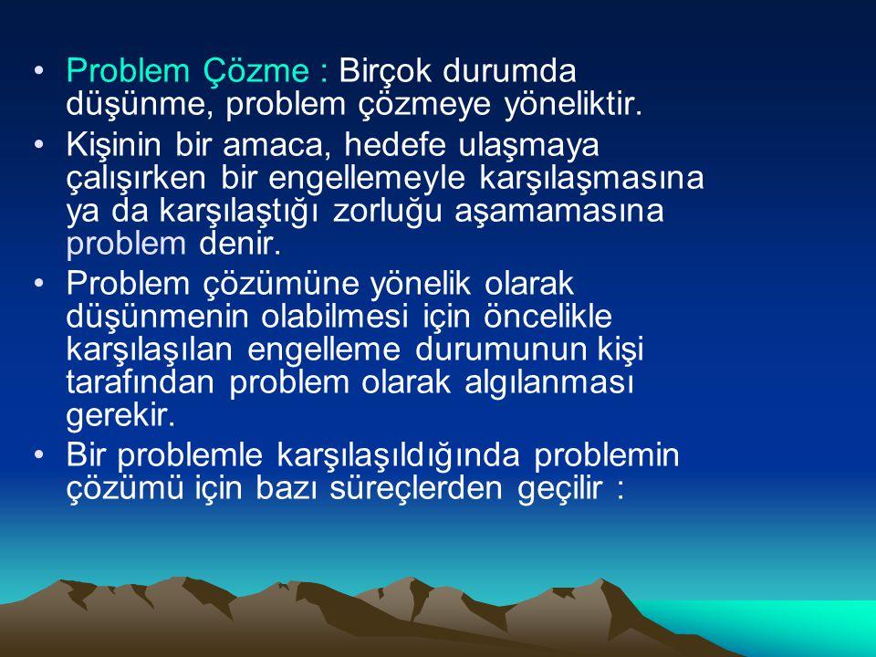Problem Çözme : Birçok durumda düşünme, problem çözmeye yöneliktir. Kişinin bir amaca, hedefe ulaşmaya çalışırken bir engellemeyle karşılaşmasına ya d