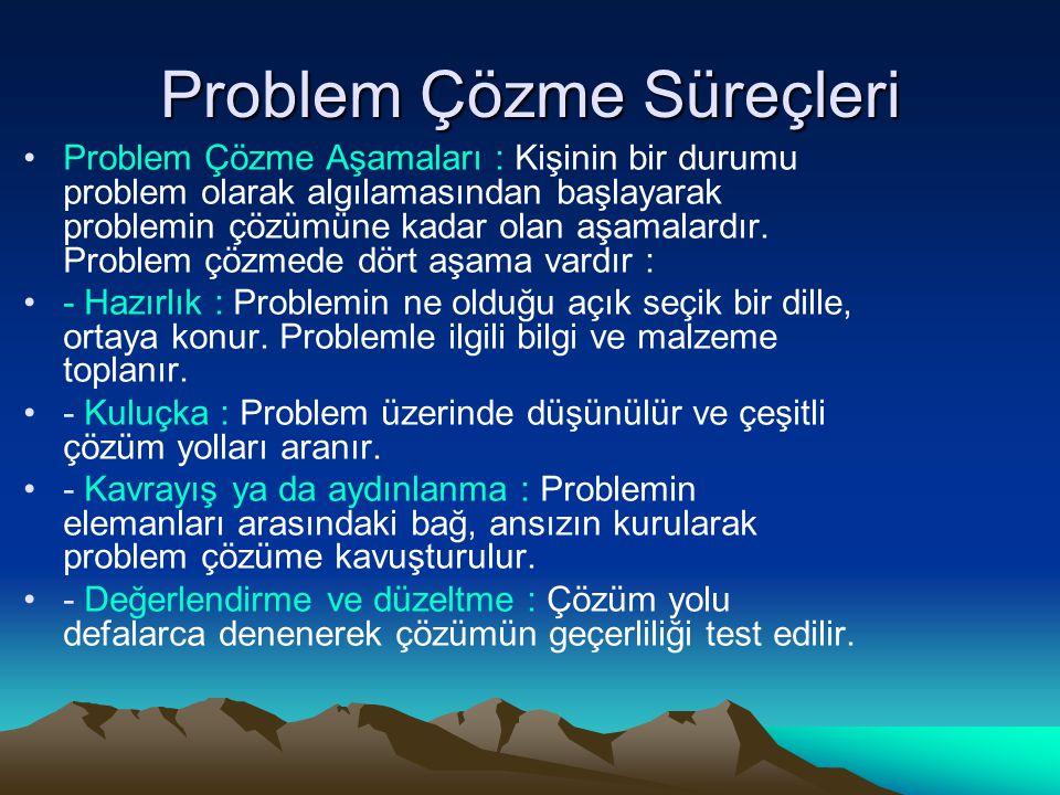 Problem Çözme Süreçleri Problem Çözme Aşamaları : Kişinin bir durumu problem olarak algılamasından başlayarak problemin çözümüne kadar olan aşamalardır.