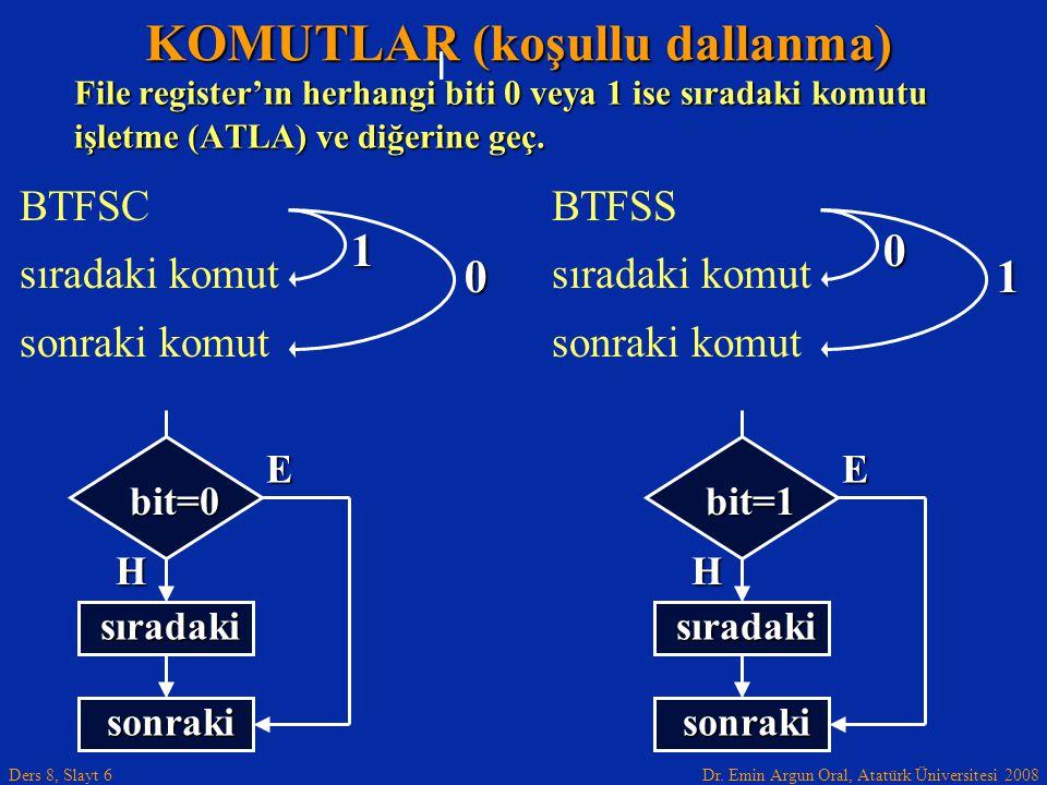 Dr. Emin Argun Oral, Atatürk Üniversitesi 2008 Ders 8, Slayt 6 KOMUTLAR (koşullu dallanma) BTFSC sıradaki komut sonraki komut File register'ın herhang