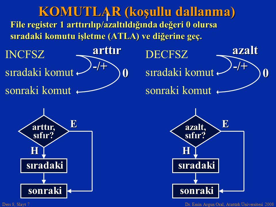 Dr. Emin Argun Oral, Atatürk Üniversitesi 2008 Ders 8, Slayt 7 KOMUTLAR (koşullu dallanma) INCFSZ sıradaki komut sonraki komut File register 1 arttırı