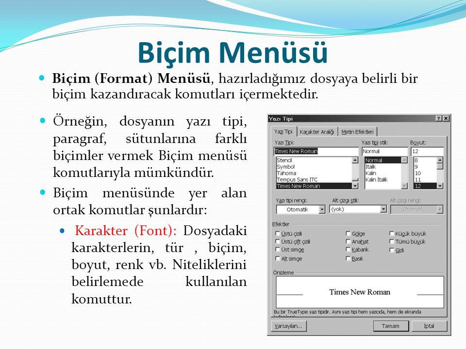 Biçim Menüsü Biçim (Format) Menüsü, hazırladığımız dosyaya belirli bir biçim kazandıracak komutları içermektedir. Örneğin, dosyanın yazı tipi, paragra